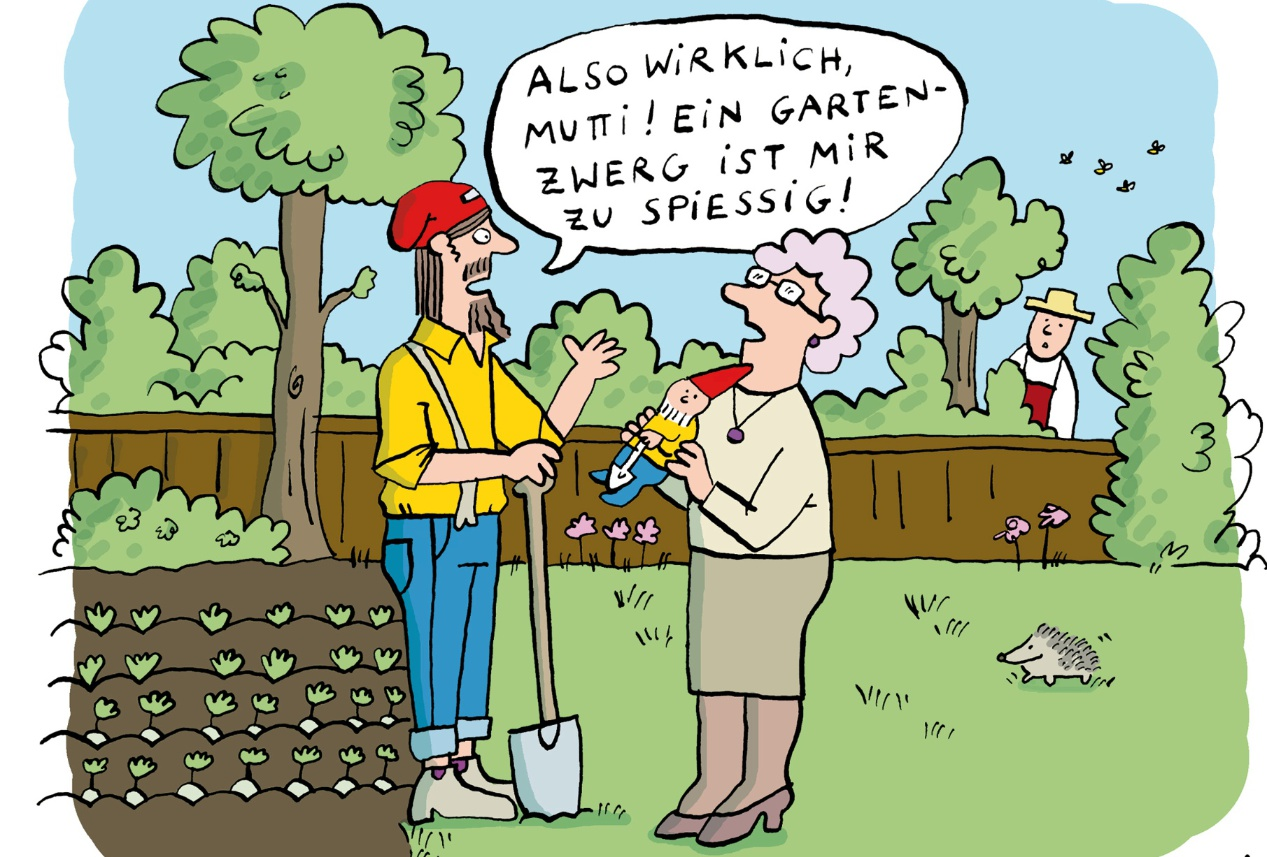 Bettina Schipping: Hipster im Schrebergarten, 2018 © Deutscher Karikaturenpreis 2018